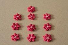 画像5: 15個セット!幅1.2cm小花のケミカルモチーフ 濃いピンク アクセサリーレース (5)
