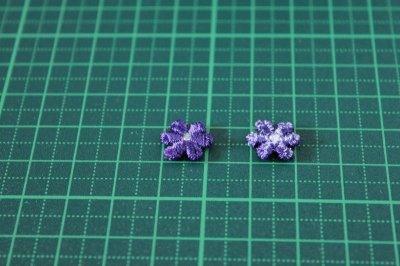 画像1: 15個セット!幅1.1cm小花のケミカルモチーフ パープル アクセサリーレース