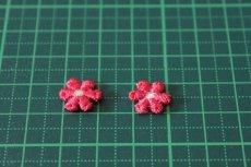画像2: 15個セット!幅1.2cm小花のケミカルモチーフ 濃いピンク アクセサリーレース (2)
