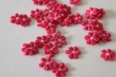 画像3: 15個セット!幅1.2cm小花のケミカルモチーフ 濃いピンク アクセサリーレース (3)
