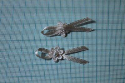 画像2: ネコポス送料無料!200個セット!幅4cmリボンと小花ケミカルレースのモチーフ ハンドメイドに