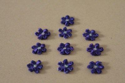 画像3: 15個セット!幅1.1cm小花のケミカルモチーフ パープル アクセサリーレース