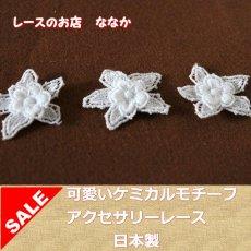 画像1: 150円!5個組!幅3cm2段のお花ケミカルレースモチーフ ホワイト (1)