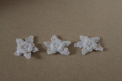 画像2: 150円!5個組!幅3cm2段のお花ケミカルレースモチーフ ホワイト