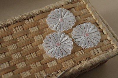 画像2: 5個組!幅4.1cm光沢のある花柄ケミカルレースモチーフ オフホワイト