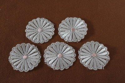 画像3: 5個組!幅4.1cm光沢のある花柄ケミカルレースモチーフ オフホワイト