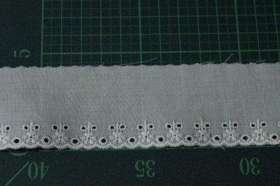 画像1: 3m巻!幅4.3cm可愛い小花柄綿レース オフホワイト 日本製