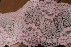 画像7: 5m!幅12.7cm大胆な薔薇柄ラッセルストレッチレース ピンク (7)