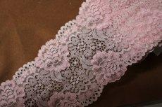 画像5: 5m!幅12.7cm大胆な薔薇柄ラッセルストレッチレース ピンク (5)