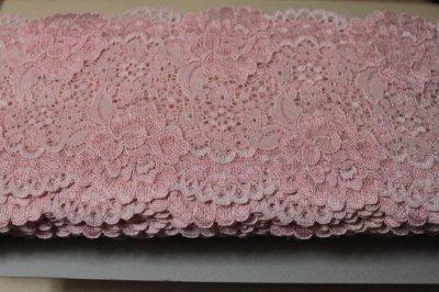 画像3: 5m!幅12.7cm大胆な薔薇柄ラッセルストレッチレース ピンク