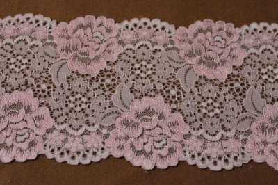画像2: 5m!幅12.7cm大胆な薔薇柄ラッセルストレッチレース ピンク