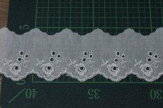 画像4: 6m!幅4.2cm可愛い薔薇柄綿レース ホワイト (4)