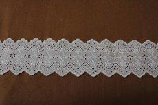 画像7: 綿レース オフホワイト 幅7.3cm刺繍のきれいな両山 3m巻 (7)