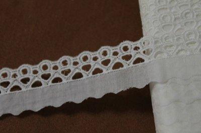 画像2: 6m!幅3.1cm綺麗な刺繍の綿レース オフホワイト