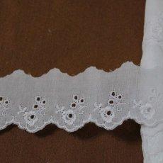 画像2: 6m!幅4.2cm可愛い薔薇柄綿レース ホワイト (2)
