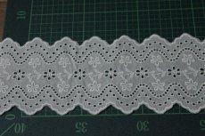 画像3: 綿レース オフホワイト 幅7.3cm刺繍のきれいな両山 3m巻 (3)