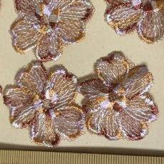 画像5: 10枚組!幅3.8cm花柄チュールレースモチーフ ブラウン (5)