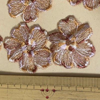 画像2: 10枚組!幅3.8cm花柄チュールレースモチーフ ブラウン