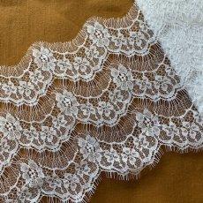 画像6: 幅19cmフランス製リバーレース ホワイト ウエディングベールに (6)