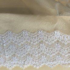 画像10: 幅19cmフランス製リバーレース ホワイト ウエディングベールに (10)