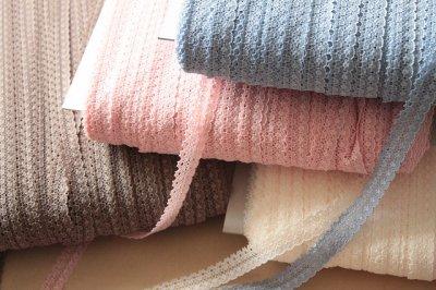 画像3: 送料無料!計1272m!幅1.4cm綺麗なラッセルストレッチレース 4色アイボリー、ピンク,サックス,ブラウン