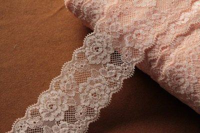 画像2: たっぷり108m!幅6cm綺麗な薔薇柄ラッセルストレッチレース ピーチピンク