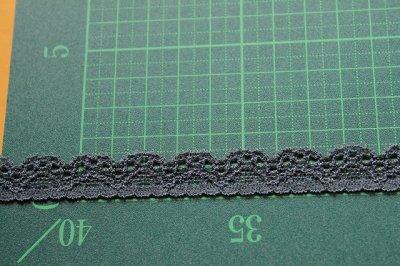 画像1: たっぷり30m!幅1.4cm綺麗なラッセルストレッチレース ダークグレー