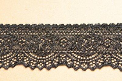画像2: 5m!幅4.2cm可愛い小花柄ラッセルストレッチレース ブラック