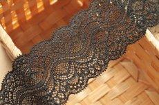画像6: 5m!幅5.9cm綺麗なラッセルストレッチレース ブラック (6)