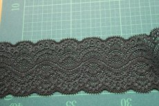 画像4: 5m!幅5.9cm綺麗なラッセルストレッチレース ブラック (4)