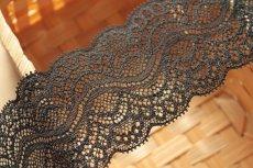 画像7: 5m!幅5.9cm綺麗なラッセルストレッチレース ブラック (7)