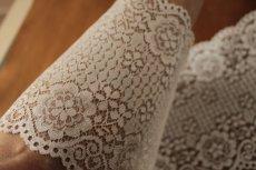 画像8: ラッセルレース オフホワイト マスク 幅14.2cm両山花柄 1m (8)