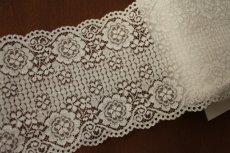 画像6: ラッセルレース オフホワイト マスク 幅14.2cm両山花柄 1m (6)