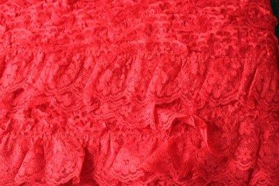 画像3: 5m!幅7cm綺麗な薔薇柄ラッセルフリルレース 赤