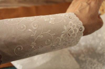 画像3: 幅15cm豪華な花柄綿レース オフホワイト