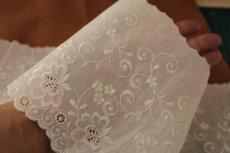 画像9: 幅15cm豪華な花柄綿レース オフホワイト (9)