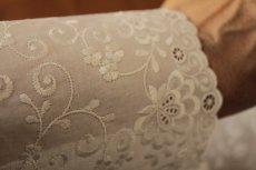 画像10: 幅15cm豪華な花柄綿レース オフホワイト (10)