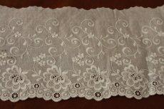 画像3: 幅15cm豪華な花柄綿レース オフホワイト (3)
