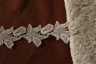 画像2: 1m!幅4cm綺麗なチューリップ柄ケミカルレース オフホワイト