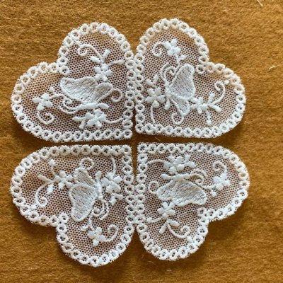 画像3: 幅5cmバタフライと小花柄ハートのチュールモチーフ オフホワイト