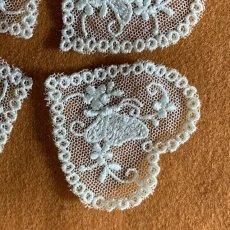 画像5: 4枚セット!幅5cmバタフライと小花柄ハートのチュールモチーフ メロングリーン (5)