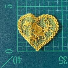 画像2: 3枚セット!幅5cmバタフライと小花柄ハートのチュールモチーフ イエロー (2)