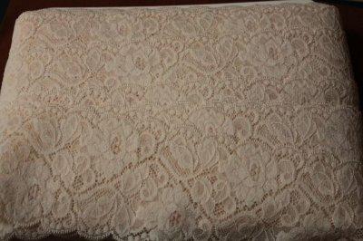 画像3: 5m!幅9.3cm薔薇柄ラッセルストレッチレース ベージュブラウン
