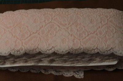 画像3: 5m!幅9.1cm薔薇柄ラッセルストレッチレース ピーチ色
