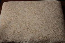 画像9: 5m!幅9.3cm薔薇柄ラッセルストレッチレース ベージュブラウン (9)