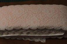画像9: 5m!幅9.1cm薔薇柄ラッセルストレッチレース ピーチ色 (9)