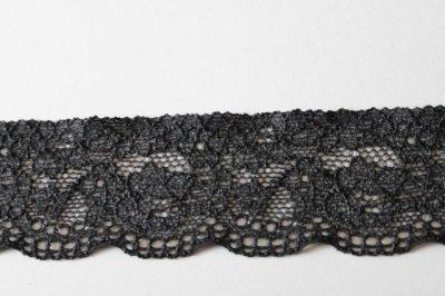 画像3: 幅3.4cm薔薇柄ラッセルストレッチレース 黒 高品質な日本製