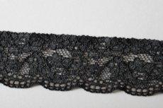 画像7: 幅3.4cm薔薇柄ラッセルストレッチレース 黒 高品質な日本製 (7)