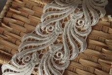 画像10: 1m!幅8.1cmウエディングドレスにも豪華なケミカルレース オフホワイト (10)