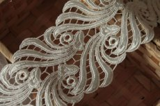 画像8: 1m!幅8.1cmウエディングドレスにも豪華なケミカルレース オフホワイト (8)